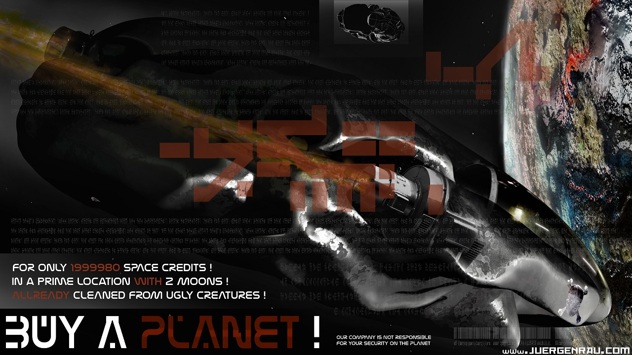 Promo poster with alien 3d planet high-end cover