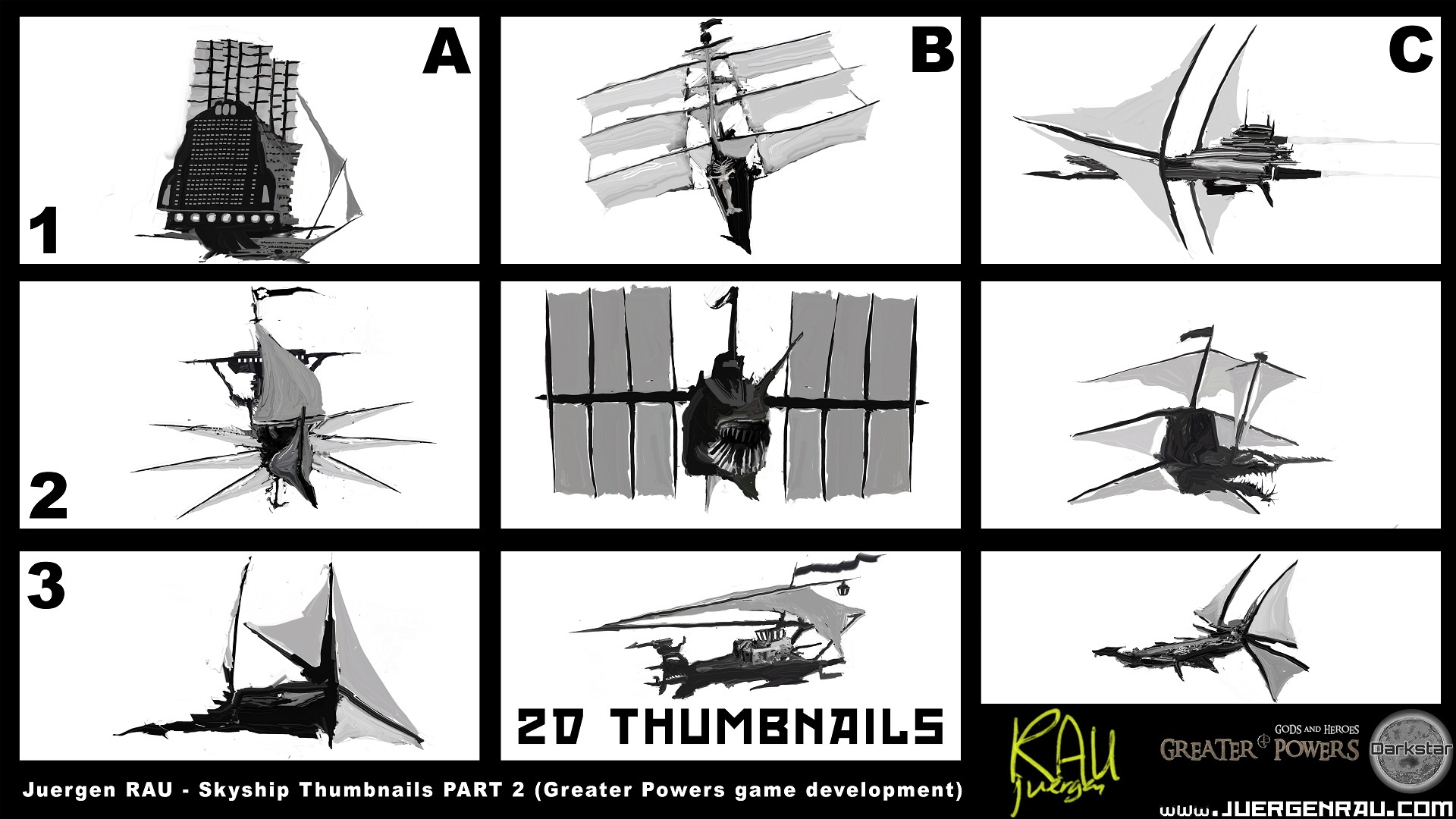 Skyships Concept Thumbnails for a Game Part 1