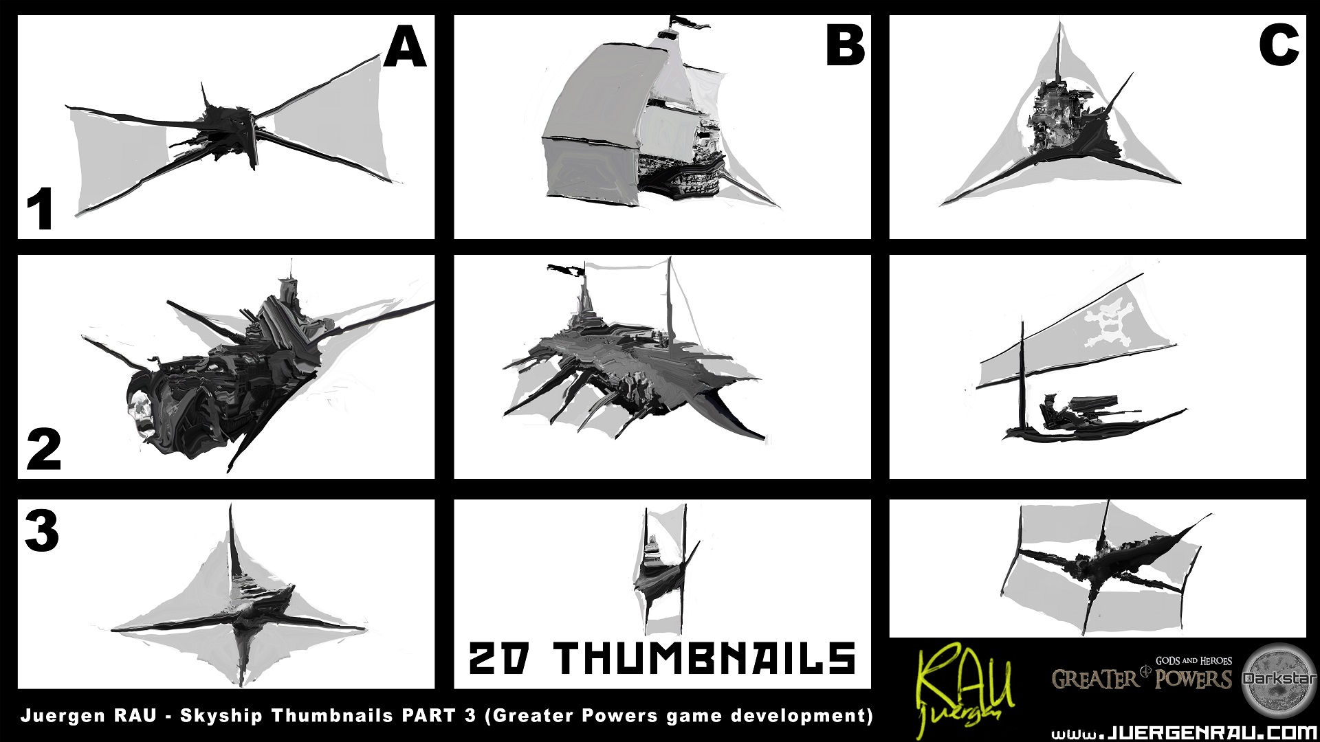 Skyships Concept Thumbnails for a Game Part 2